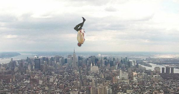 "Screen-shot from 43rd story of the Freedom Tower, NYC- ""Falling Man Memorail"" by Paul Goldblatt"